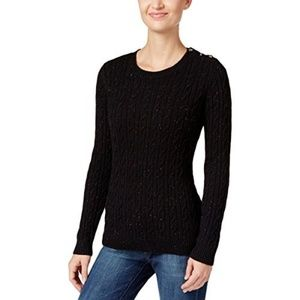 Charter Club Petite Cable-Knit Sweater, Black, P/L